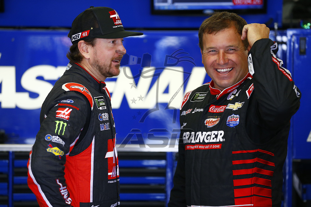 July 14, 2017 - Loudon, NH, USA: Kurt Busch (41) and Ryan Newman (31) hang out in the garage during practice for the Overton's 301 at New Hampshire Motor Speedway in Loudon, NH.