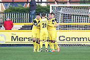 Southport players celebrating going 1-0 up during the Vanarama National League match between Southport and Eastleigh at the Merseyrail Community Stadium, Southport, United Kingdom on 17 December 2016. Photo by Pete Burns.