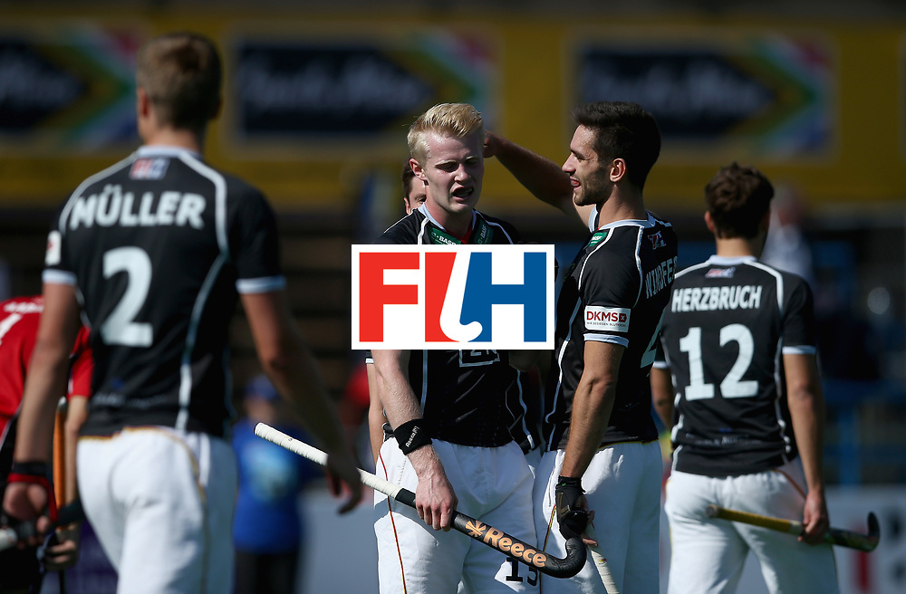 JOHANNESBURG, SOUTH AFRICA - JULY 11: Tom Grambusch of Germany celebrates scoring their teams second goal with teammates during day 2 of the FIH Hockey World League Semi Finals Pool B match between Germany and Egypt at Wits University on July 11, 2017 in Johannesburg, South Africa. (Photo by Jan Kruger/Getty Images for FIH)