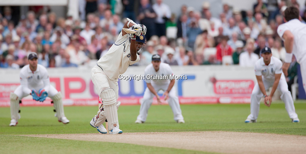 Abhinav Mukund out first ball of the innings during the second npower Test Match between England and India at Trent Bridge, Nottingham.  Photo: Graham Morris (Tel: +44(0)20 8969 4192 Email: sales@cricketpix.com) 29/07/11