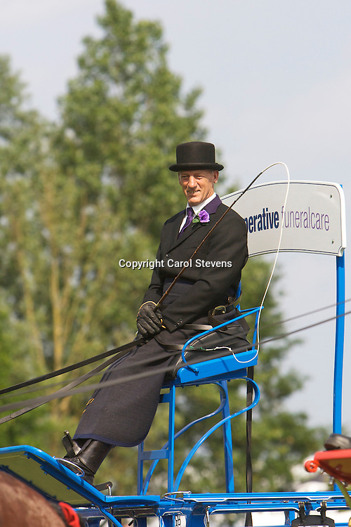John Goodwin driving his bay gelding Shire  - the Co-operative Funeralcare Shire Horse Team South<br /> Winner  Single Trade Turnout Class
