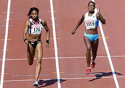 n/z.: Joice Maduaka (nr1262-Wielka Brytania), Merlene Ottey (nr1659-Slowenia) podczas biegu na 100 m  podczas Mistrzostw Europy w lekkiej atletyce w Goeteborgu, Goeteborg , Szwecja , 08-08-2006 , fot.: Adam Nurkiewicz / mediasport..Joice Maduaka (nr1262-Great Britain), Merlene Ottey (nr1659-Slovenia) during qualifications 100 m woman during EAA European Athletics Championships in Goteborg. August 08, 2005 ; Gothenburg , Sweden ( Photo by Adam Nurkiewicz / mediasport )