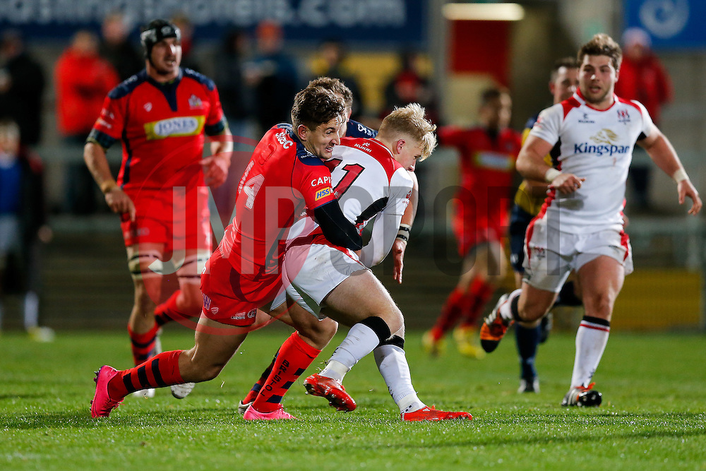 Ulster Ravens Winger Robert Lyttle is tackled by Bristol Rugby Winger George Watkins - Mandatory byline: Rogan Thomson/JMP - 13/11/2015 - RUGBY UNION - Kingspan Stadium - Belfast, Northern Ireland - Ulster Ravens v Bristol Rugby - The British & Irish Cup Pool 2.