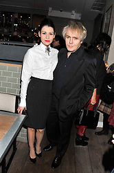 NICK RHODES and NEFER SUVIO at a dinner to celebrate the opening of the Serpentine's Gallery new exhibition of work by Jonas Mekas held at Cassis, 232-236 Brompton Road, London SW3, London on 3rd December 2012.