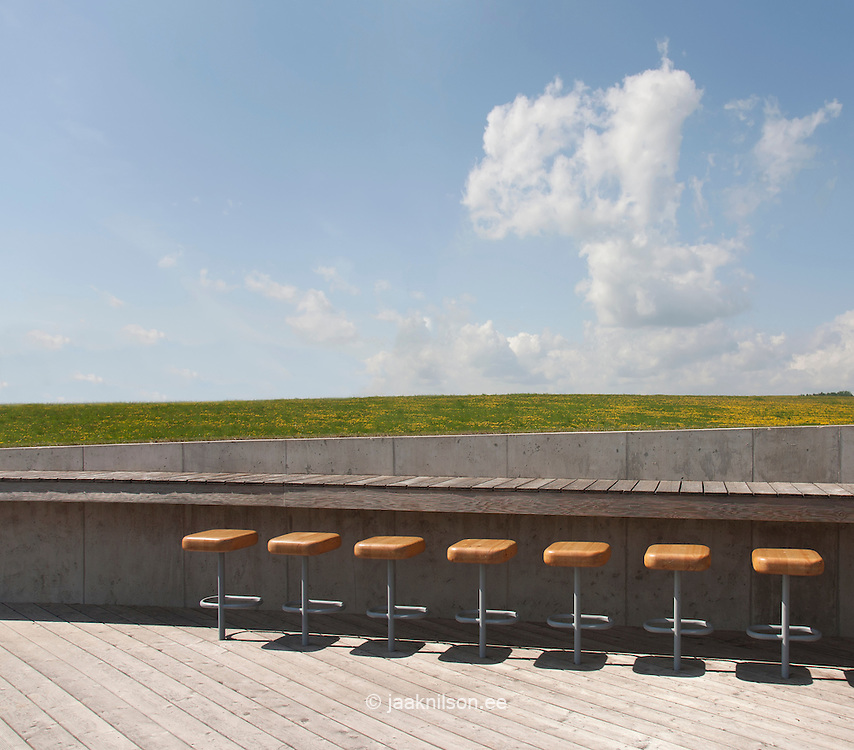 Chairs and counter in Estonian Road Museum open-air cafe or bar
