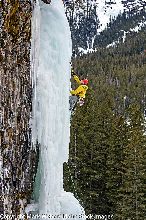 Mark Weber ice climbing a route called Thin Chance which is rated WI-4,5 and located in Hyalite Canyon in the Gallatin Mountains near the city of Bozeman in southern Montana