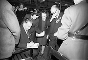 22/10/1963<br /> 10/22/1963<br /> 22 October 1963<br /> R.D.S. Scientific Exhibition opens, Ballsbridge, Dublin.  Taoiseach Sean Lemass signs autographs for students attending the exhibition.