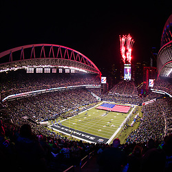 SEATTLE, WASHINGTON - JANUARY 7: CenturyLink Field during the national anthem in Seattle, WA. (Photo by Christopher Mast/Seattle Seahawks)