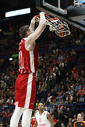 November 17, 2017 - Milan, Milan, Italy - Arturas Gudaitis (#77 AX Armani Exchange Milan) make a slam dunk during a game of Turkish Airlines EuroLeague basketball between  AX Armani Exchange Milan vs Brose Bamberg at Mediolanum Forum, on November 17, 2017 in Milan, Italy. (Credit Image: © Roberto Finizio/NurPhoto via ZUMA Press)