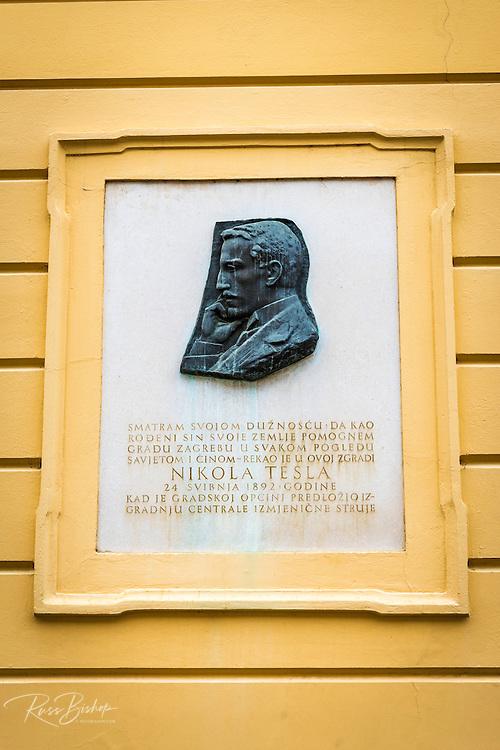 Plaque commemorating Nikola Tesla in old town Gradec, Zagreb, Croatia