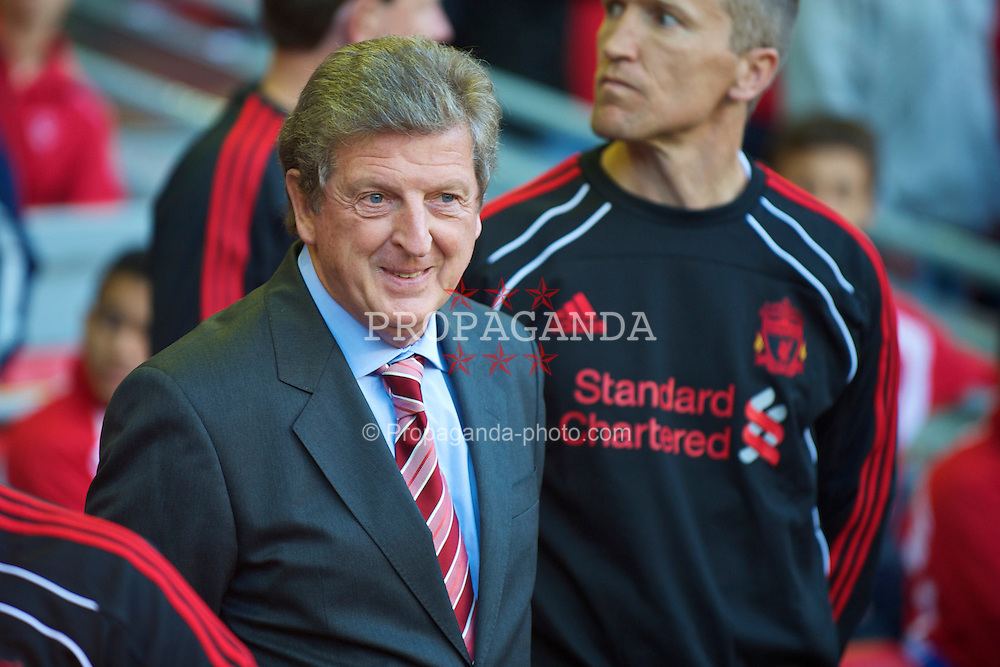 LIVERPOOL, ENGLAND - Thursday, August 5, 2010: Liverpool's manager Roy Hodgson before the UEFA Europa League 3rd Qualifying Round 2nd Leg match against FK Rabotnicki at Anfield. (Pic by: David Rawcliffe/Propaganda)