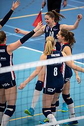 20-01-2019 NED: Talent Team Papendal - Sliedrecht Sport, Ede<br /> Round 15 of Eredivisie volleyball. Sliedrecht Sport win 3-0 (14-25, 14-25, 20-25) of Talent Team / Carlijn Ghijssen-Jans #10 of Sliedrecht Sport