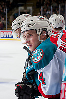 KELOWNA, CANADA - NOVEMBER 11: Gordie Ballhorn #4 of the Kelowna Rockets stands on the bench against the Red Deer Rebels on November 11, 2017 at Prospera Place in Kelowna, British Columbia, Canada.  (Photo by Marissa Baecker/Shoot the Breeze)  *** Local Caption ***