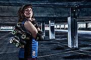 USA, Oregon, Salem, Composite portrait of Roller Derby competitor. MR