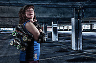 USA, Oregon, Salem, Composite portrait of Roller Derby competitor. MR