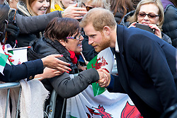 © Licensed to London News Pictures. 18/01/2018. Cardiff, UK. Prince Harry and Meghan Markle (not pictured) arrive at Cardiff Castle to visit the Wales Culture Fair. Photo credit : Tom Nicholson/LNP