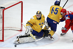 11.05.2012, Ericsson Globe, Stockholm, SWE, IIHF, Eishockey WM, Russland (RUS) vs Schweden (SWE), im Bild Sverige Sweden 30 Goalkeeper Viktor Fasth (AIK) with a legsave on a shot from Russia 27 Alexei Tereshenko (AK Bars Kazan) // during the IIHF Icehockey World Championship Game between Russia (RUS) and Sweden (SWE) at the Ericsson Globe, Stockholm, Sweden on 2012/05/11. EXPA Pictures © 2012, PhotoCredit: EXPA/ PicAgency Skycam/ Morten Christensen..***** ATTENTION - OUT OF SWE *****
