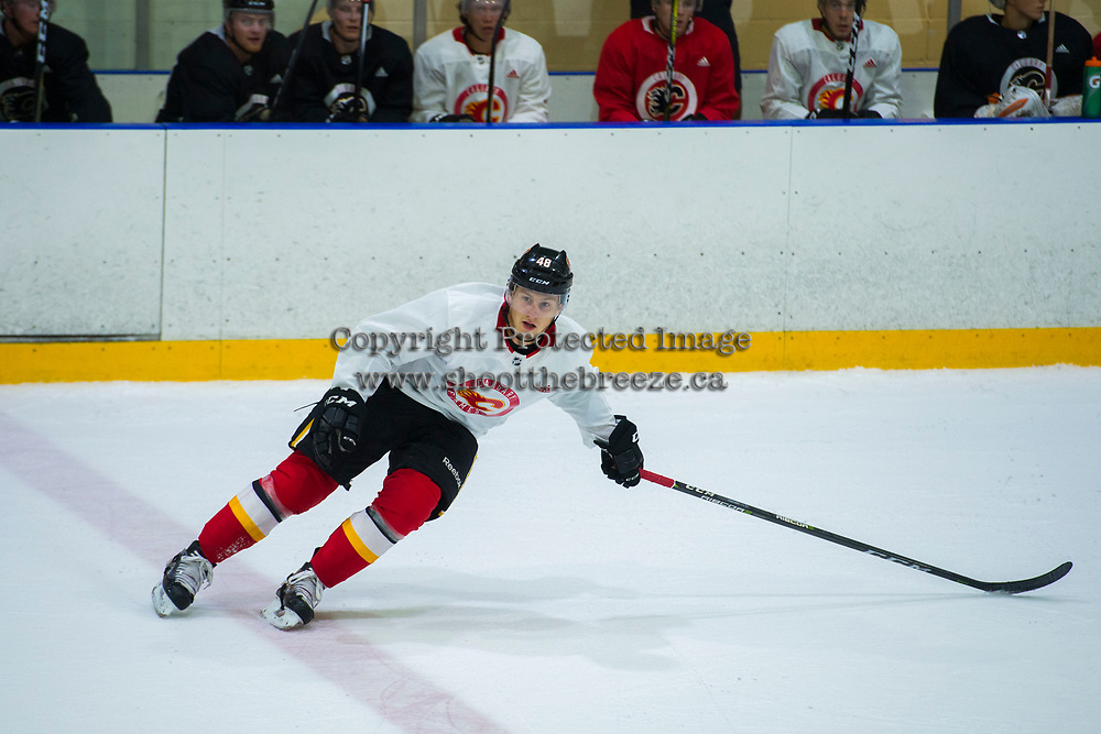 PENTICTON, CANADA - SEPTEMBER 9: Zach Fischer #48 of Calgary Flames skates during morning ice on September 9, 2017 at the South Okanagan Event Centre in Penticton, British Columbia, Canada.  (Photo by Marissa Baecker/Shoot the Breeze)  *** Local Caption ***