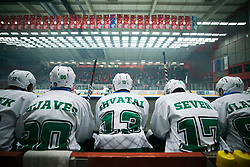 HK SZ Olimpija during Alps League Ice Hockey match between HK SZ Olimpija and HDD SIJ Jesenice, on February 12, 2019 in Ice Arena Podmezakla, Jesenice, Slovenia. Photo by Peter Podobnik / Sportida