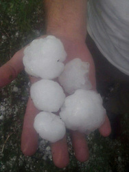 June 23, 2017 - Tatarstan, Russia - June 23, 2017. - Russia. A heavy hailstorm and snowfall near Kazan, Tatarstan. Photo: twitter.com/rustem_gareev (Credit Image: © Russian Look via ZUMA Wire)