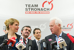 "06.02.2015, Parlamentsklub TS, Wien, AUT, Team Stronach, Pressekonferenz mit dem Thema: ""Neustart Team Stronach"". im Bild v.l.n.r. bisherige Klubobfrau Team Stronach Kathrin Nachbaur, Nationalratsabgeordneter Leo Steinbichler, Robert Lugar und Parteigruender und Obmann Frank Stronach // f.l.t.r. Leader of the Parliamentary Group TS Kathrin Nachbaur, Member of Parliament Leo Steinbichler, Member of Parliament TS Robert Lugar and Party Founder Frank Stronach during press conference of Team Stronach at parliamentary club TS in Vienna, Austria on 2015/02/06. EXPA Pictures © 2015, PhotoCredit: EXPA/ Michael Gruber"