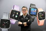 Fitbit CEO James Park unveils Fitbit's second smartwatch, Fitbit Versa, and first-ever device for kids, Fitbit Ace, along with the Fitbit family account and female health tracking at its launch event in New York, Monday, March 12, 2018. The newest devices and features from Fitbit support the company's vision of making the world healthier, while reaching more people in unique ways to continue to help them achieve their health and fitness goals. (Photo by Diane Bondareff/AP Images for Fitbit)