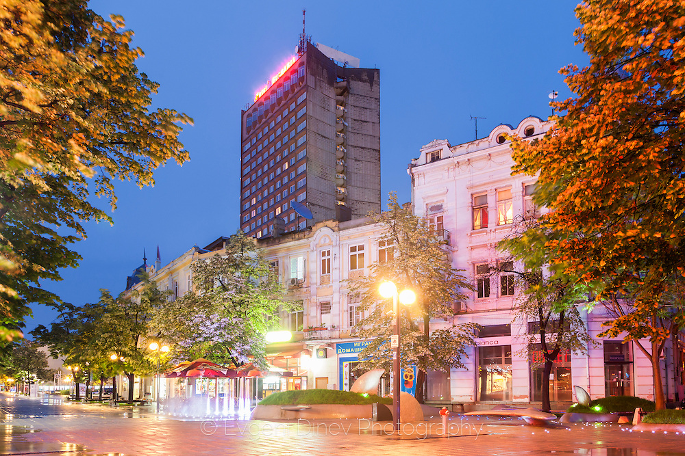City of Burgas in rainy spring night
