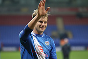 Dan Harding applauds the fans during the The FA Cup Third Round Replay match between Bolton Wanderers and Eastleigh at the Macron Stadium, Bolton, England on 19 January 2016. Photo by Pete Burns.