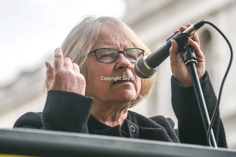 London, England, UK. 28th September 2017. Speaker Lindsey German of Stop the War protest and rally to demand Theresa May to Stop Trump and Kim Jong-Un Nuclear threat call for a peaceful solution.