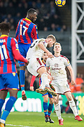 Crystal Palace #17 Christian Benteke, Burnley (3) Charlie Taylor during the Premier League match between Crystal Palace and Burnley at Selhurst Park, London, England on 13 January 2018. Photo by Sebastian Frej.