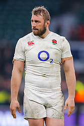 Flanker Chris Robshaw looks frustrated in his celebrations after England hang on to win the match 25-21 to lift the Triple Crown having beaten Scotland, Ireland and Wales in the 6 Nations - Mandatory byline: Rogan Thomson/JMP - 12/03/2016 - RUGBY UNION - Twickenham Stadium - London, England - England v Wales - RBS 6 Nations 2016.