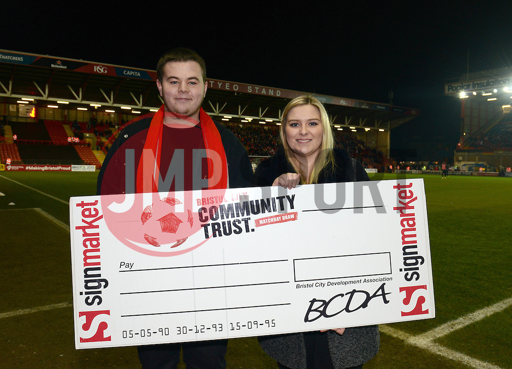 Bristol City Community Trust 50/50 Match day draw.  - Photo mandatory by-line: Dougie Allward/JMP - Mobile: 07966 386802 - 10/02/2015 - SPORT - Football - Bristol - Ashton Gate - Bristol City v Port Vale - Sky Bet League One