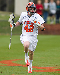 Virginia Cavaliers M Max Pomper (42) in action against UMD.  The #9 ranked Maryland Terrapins fell to the #1 ranked Virginia Cavaliers 10 in 7 overtimes in Men's NCAA Lacrosse at Klockner Stadium on the Grounds of the University of Virginia in Charlottesville, VA on March 28, 2009.