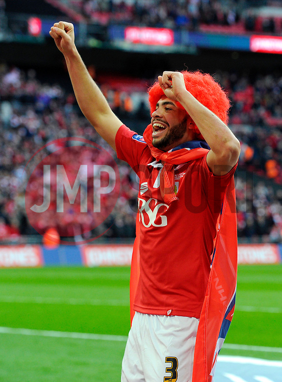 Bristol City's Derrick Williams celebrates on the final whistle  - Photo mandatory by-line: Joe Meredith/JMP - Mobile: 07966 386802 - 22/03/2015 - SPORT - Football - London - Wembley Stadium - Bristol City v Walsall - Johnstone Paint Trophy Final