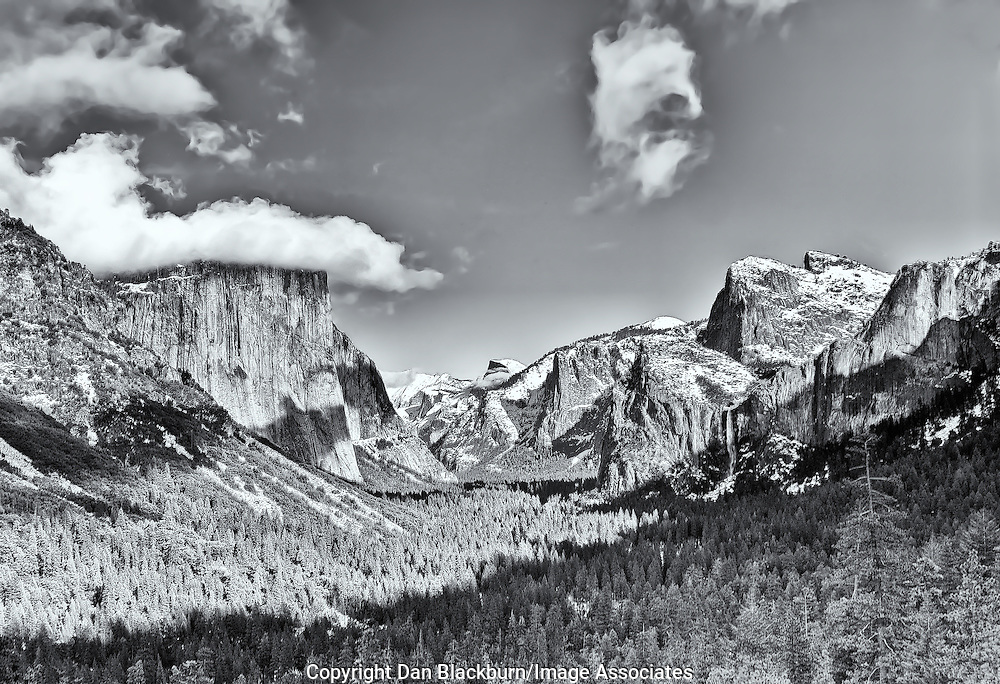 Early Winter at Tunnel View in Yosemite in Black & White