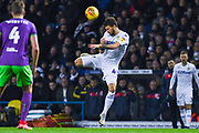 Mateusz Klich of Leeds United (43) controls the ball in unorthodox fashion during the EFL Sky Bet Championship match between Leeds United and Bristol City at Elland Road, Leeds, England on 24 November 2018.
