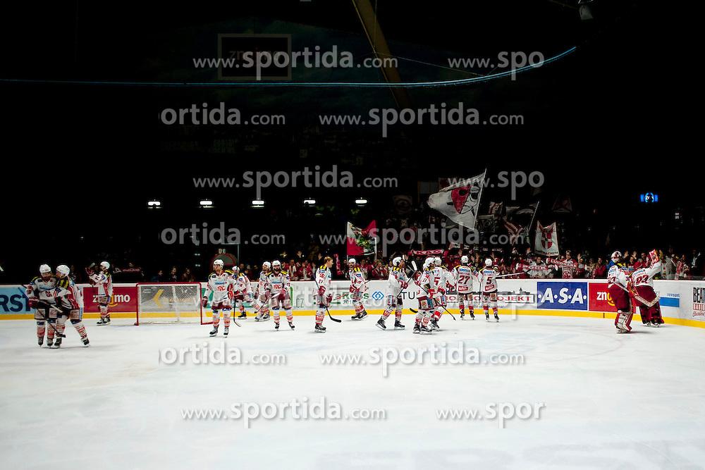 15.03.2015, Ice Rink, Znojmo, CZE, EBEL, HC Orli Znojmo vs EC KAC, 59. Runde, 5. Viertelfinale, im Bild die Spieler des EC KAC jubeln zu den Fans // during the Erste Bank Icehockey League 59th round match, 5th quarterfinal between HC Orli Znojmo and EC KAC at the Ice Rink in Znojmo, Czech Republic on 2015/03/15. EXPA Pictures © 2015, PhotoCredit: EXPA/ Rostislav Pfeffer