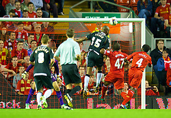 27.08.2013, Anfield, Liverpool, ENG, League Cup, FC Liverpool vs Notts County FC, 2. Runde, im Bild Notts County's Yoann Arquin scores his side's first goal against Liverpool during the English League Cup 2nd round match between Liverpool FC and Notts County FC, at Anfield, Liverpool, Great Britain on 2013/08/27. EXPA Pictures © 2013, PhotoCredit: EXPA/ Propagandaphoto/ David Rawcliffe<br /> <br /> ***** ATTENTION - OUT OF ENG, GBR, UK *****
