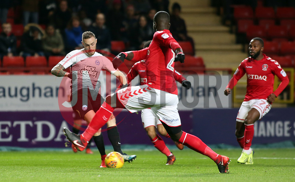 Marcus Maddison of Peterborough United shoots at goal against Charlton Athletic - Mandatory by-line: Joe Dent/JMP - 28/11/2017 - FOOTBALL - The Valley - Charlton, London, England - Charlton Athletic v Peterborough United - Sky Bet League One