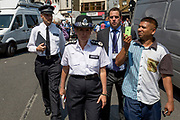 Following the attack on a group of Muslim men outside the Finsbury Park mosque which killed one person and seriously injured another ten, Met Police Commissioner Cressida Dick leaves the area, on 19th June 2017, in the borough of Islington, north London, England.