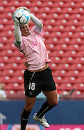 The United States' Hope Solo wearing a special pink Breast Cancer Awareness top during pregame warmups on Saturday, May 12th, 2007 at Pizza Hut Park in Frisco, Texas. The United States Women's National Team defeated Canada 6-2 in a women's international friendly.
