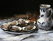 Still Life with Oysters'. Antoine Vollon (1833-1900) French Realist painter. Food Shellfish Jug Glass