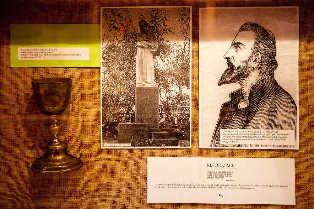 "Exhibition at the house ""Na Sboru"" in Kunvald. The Unitas Fratrum (Brüdergemeine/Moravian Church) was founded in Kunvald in 1457, when followers of the martyred Jan Hus (John Huss) found refuge on the estate of King George of Poděbrady. Kunvald is a village in 5 km north of Žamberk in the Ústí nad Orlicí District, Pardubice Region of the Czech Republic. It has over 1,000 inhabitants."