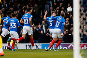 Lee Brown scores a goal to make it 1-1 and celebrates during the EFL Sky Bet League 1 match between Portsmouth and Peterborough United at Fratton Park, Portsmouth, England on 7 December 2019.
