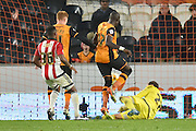Hull City midfielder Mohammed Diame (17) taps in the ball to score and go 2-0 up during the Sky Bet Championship match between Hull City and Brentford at the KC Stadium, Kingston upon Hull, England on 26 April 2016. Photo by Ian Lyall.