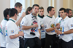 Milivoje Novakovic, Bostjan Cesar, Branko Ilic and Aleksander Radosavljevic at Reception of Slovenian National football team at president of Republic of Slovenia dr. Danilo Turk after Slovenia qualified for the FIFA World Cup South Africa 2010, in President's place , Ljubljana, Slovenia.   (Photo by Vid Ponikvar / Sportida)
