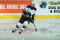 KELOWNA, BC - DECEMBER 27:  Noah Dorey #28 of the Kelowna Rockets warms up on the ice against the Kamloops Blazers at Prospera Place on December 27, 2019 in Kelowna, Canada. (Photo by Marissa Baecker/Shoot the Breeze)