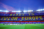 A Barcelona supporters display at the start of the Champions League semi-final leg 1 of 2 match between Barcelona and Liverpool at Camp Nou, Barcelona, Spain on 1 May 2019.