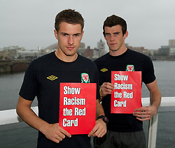 CARDIFF, WALES - Tuesday, October 4, 2011: Wales' captain Aaron Ramsey and Gareth Bale back the 'Show Racism the Red Card' campaign at the St. David's Hotel. (Pic by David Rawcliffe/Propaganda)