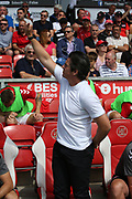 Fleetwood Town Manager Joey Barton waves to the fans during the EFL Sky Bet League 1 match between Fleetwood Town and AFC Wimbledon at the Highbury Stadium, Fleetwood, England on 4 August 2018. Picture by Craig Galloway.